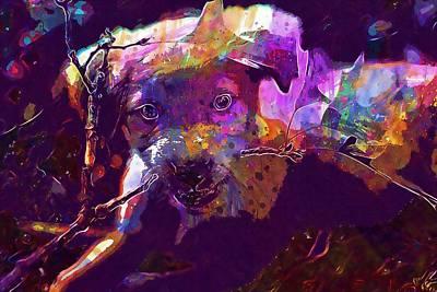 Labrador Digital Art - Labrador Golden Retriever Pit Puppy  by PixBreak Art