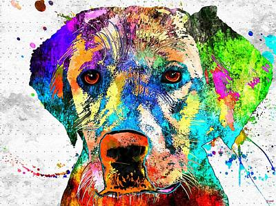 Watercolor Pet Portraits Mixed Media - Labrador Grunge by Daniel Janda