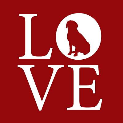 Labrador Digital Art - Labrador Love Red by Nancy Ingersoll