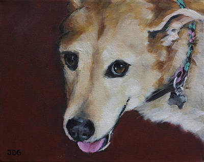 Mixed Labrador Retriever Painting - Labrador Mix by Julie Dalton Gourgues