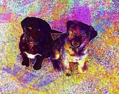 Labrador Digital Art - Labrador Puppies Dogs Young  by PixBreak Art