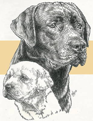 Mixed Media - Labrador Retriever And Pup by Barbara Keith