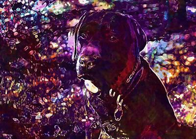 Labrador Digital Art - Labrador Retriever Chocolate Dog  by PixBreak Art
