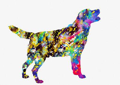 Labrador Digital Art - Labrador Retriever-colorful by Erzebet S