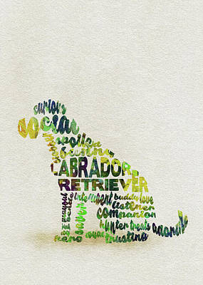 Labrador Retriever Watercolor Painting / Typographic Art Art Print