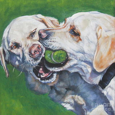 Painting - Labrador Retriever Yellow Buddies by Lee Ann Shepard