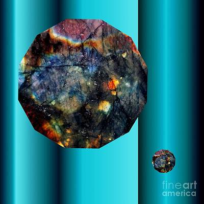 Digital Art - Labradorite Dodecagon On Blue  by Rachel Hannah