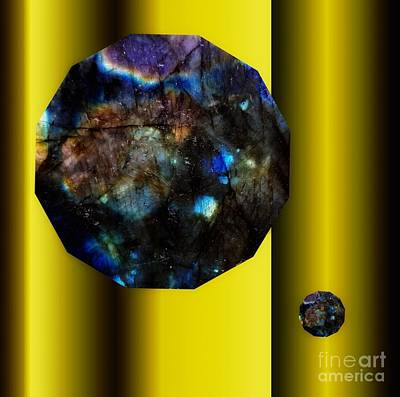Mixed Media - Labradorite Dodecagons On Gold by Rachel Hannah