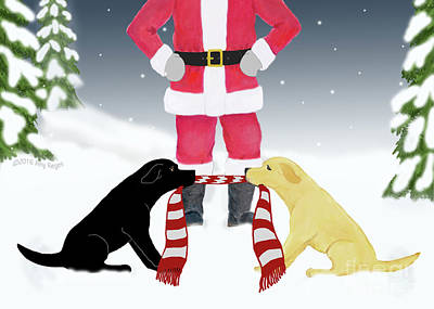 Painting - Labs Tug Santa Scarf by Amy Reges