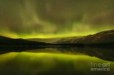 Photograph - Lac Edith Northern Light Show by Adam Jewell