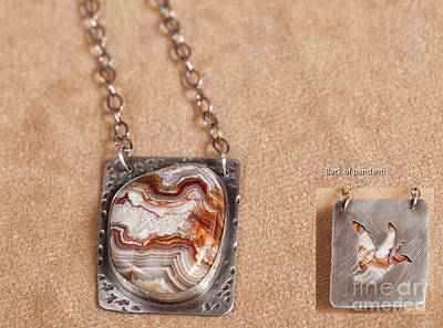 Cabochon Jewelry - Lace Agate In Sterling Silver With Bird Cutout by Melany Sarafis