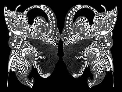 Fantasy Drawing - Lace Butterflies 2 by Marian Fannon Christian