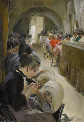 Anders Zorn Painting - Lace-making In Venice by Anders Zorn