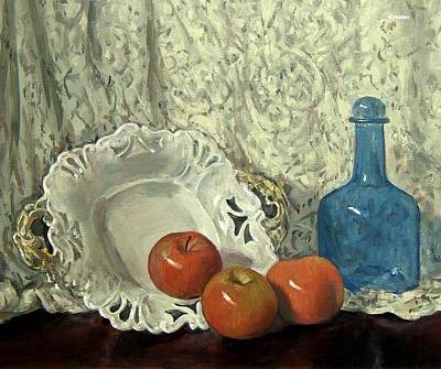 Painting - Lace, Porcelain Server, Apples, Blue Bottle by Robert Holden