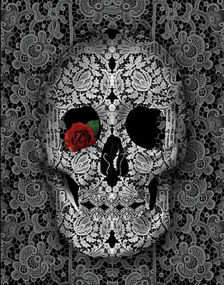 Painting - Lace Skull Black by Bekim Art