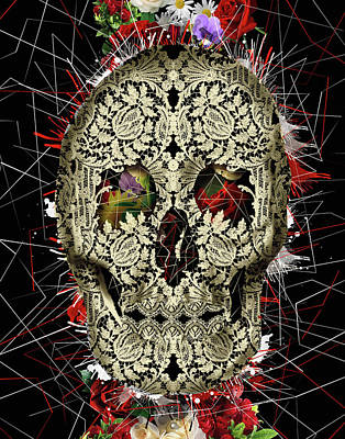 White Shirt Painting - Lace Skull Floral by Bekim Art