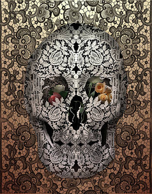 Painting - Lace Skull Sepia by Bekim Art