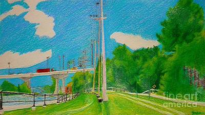 Lachine Canal Pencil Crayon Art Print