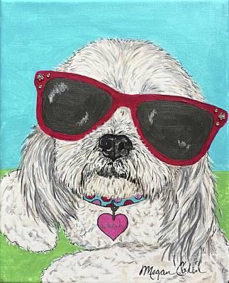 Pup Painting - Laci With Shades by Megan Cohen