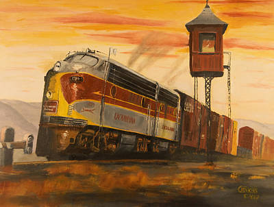 Train Crossing Painting - Lackawanna Fast Freight by Christopher Jenkins
