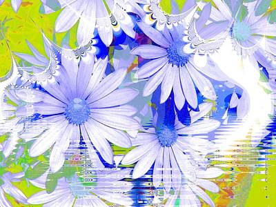 Digital Art - Lacy Blue Daisies by Nancy Pauling