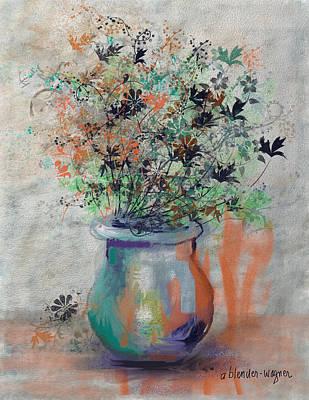 Vase Digital Art - Lacy Bouquet by Arline Wagner