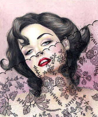 Prismacolor Marker Drawing - Lacy Seduction by Scarlett Royal
