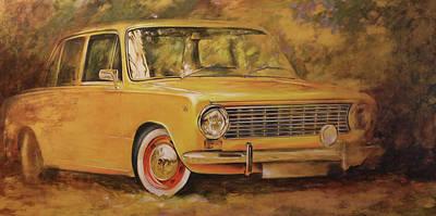 Painting - Lada. Zhiguli .automobile Painting.yellow Car Painted On Leather By  Vali Irina Ciob by Vali Irina Ciobanu