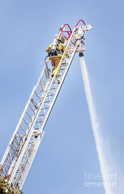 Photograph - Ladder Fireman by David Millenheft