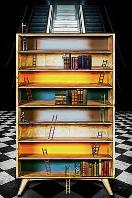 Digital Art - Ladder Of Success In The Bookcase Of Life by John Haldane
