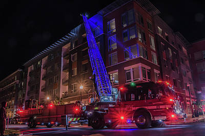 Photograph - Ladder Truck Deployed At Night by Jeff at JSJ Photography