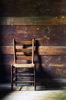 Ladderback Chair In Empty Room Art Print by Panoramic Images