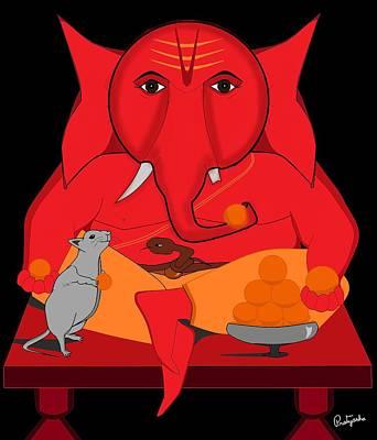 Digital Art - Laddu Ganesha by Pratyasha Nithin