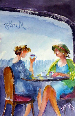 Painting - Ladies At Cafe... by Faruk Koksal