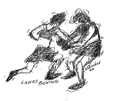 Sports Sketching Drawing - Ladies Boxing by Sam Chinkes