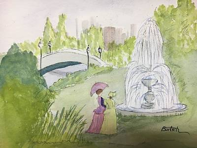 Painting - Ladies By Fountain by David Bartsch