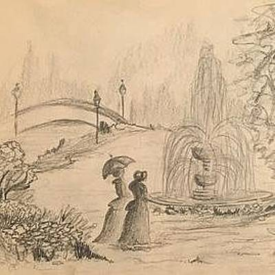 Drawing - Ladies By The Fountain by David Bartsch