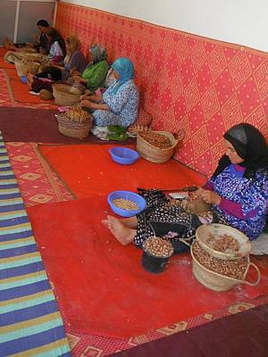 Exploramum Photograph - Ladies Cracking Argan Nut by Exploramum Exploramum