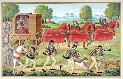 Many Colors Drawing - Ladies Hunting. 19th Century by Vintage Design Pics