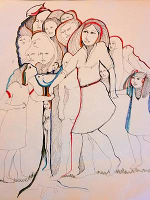 Wall Art - Drawing - Ladies In The Park With Bluebird by Rosalinde Reece