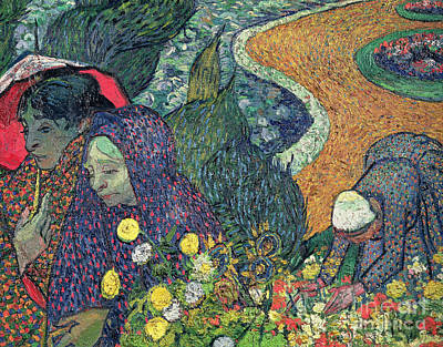 Shawl Painting - Ladies Of Arles by Vincent Van Gogh
