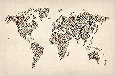 Ladies Shoes Map Of The World Map Art Print by Michael Tompsett