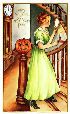 Pumpkin Art Card Mixed Media - Ladie's True Love Face by Long Shot