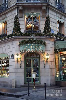 Photograph - Paris Laduree Christmas Holiday Lights - Laduree Patisserie Christmas In Paris by Kathy Fornal
