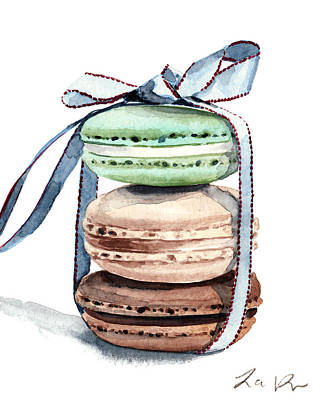 Donuts Painting - Laduree Macaron Stack Tied With A Bow by Laura Row