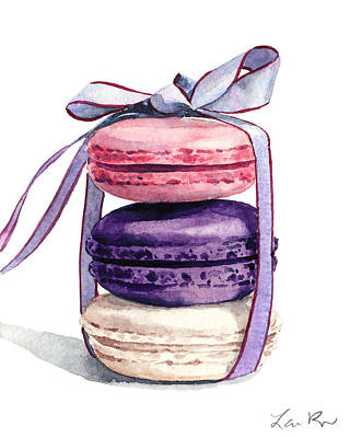 Rose Tower Painting - Laduree Macaron Stack Tied With A Bow Pink Violet by Laura Row