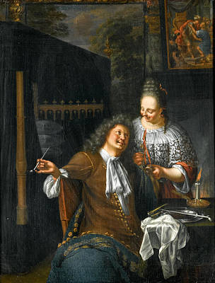 Painting - Lady And Cavalier by Frans van Mieris the Younger