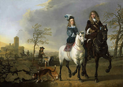 Painting - Lady And Gentleman On Horseback by Celestial Images