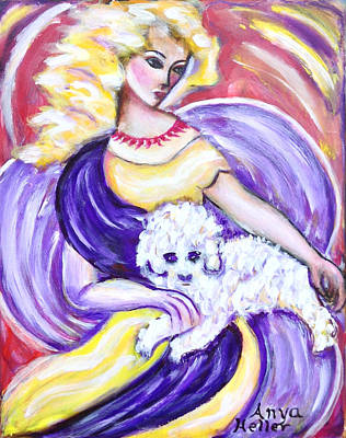 Art Print featuring the painting Lady And Maltese by Anya Heller