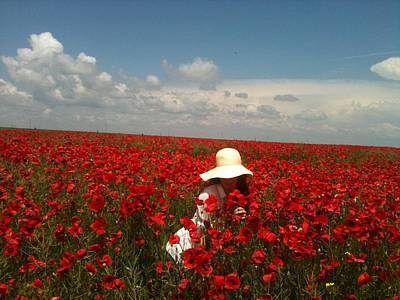 Poppies Field Painting - Lady And Red Poppies  by Georgeta  Blanaru
